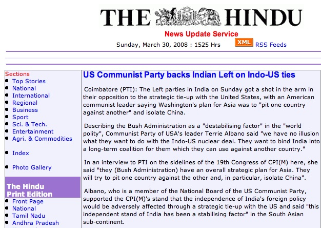 US Communist Party backs Indian Left on Indo-US ties