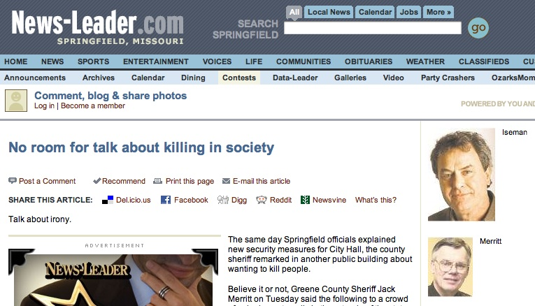 Springfield, MO Sheriff talks about killing communists