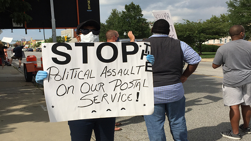 Baltimore residents rally for postal service, labor, and democracy